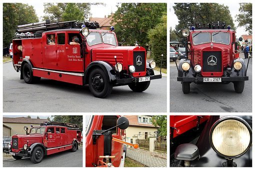Collage, Fire, Fire Truck, Historically, Oldtimer