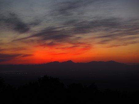 Evening Sun, Afterglow, Sky, Tree, Romantic, Sunset