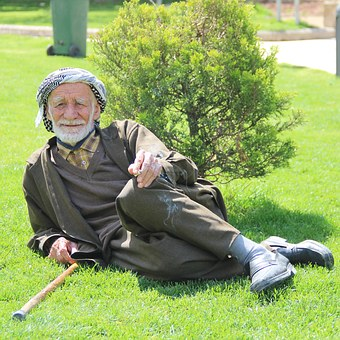 Man, Life, Urfa, Old, Muslim, Smoking, Grass Pavers