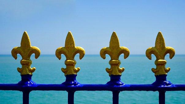Metal, Fence, Railing, Artistic, Blue, Sea View, Iron
