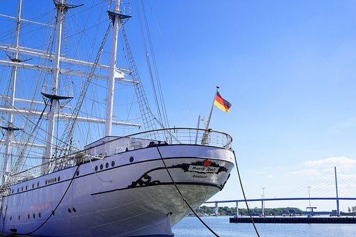 Stralsund, Holiday, Gorch Fock, Ship, Water, Blue