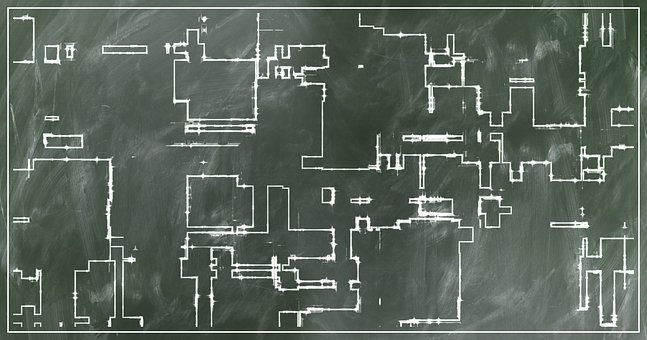 Board, Sketch, Floor Plan, Building, Escape Route