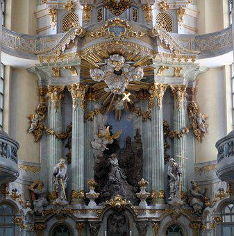 Church, Organ, Church Organ, Decorated, Gold, Columnar