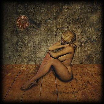 Woman, Sitting, Sexy, Act, Fantasy, Digital Art, Dark