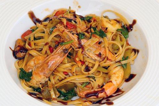 Pasta, Shrimps, Food, Seafood, Dinner, Cuisine, Dish