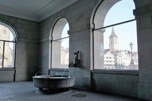 Fountain, Zurich, Switzerland, Water Church, Water