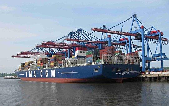 Container, Marco Polo, Freighter, Burchardkai, Terminal