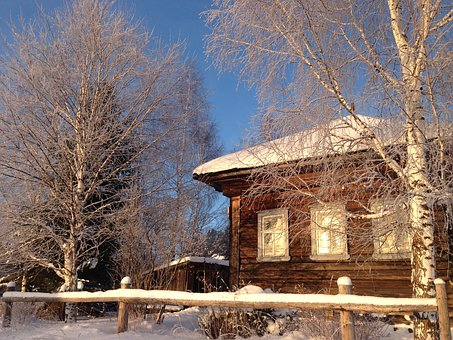 Village, House, Winter, Krasot, Russia, Wood
