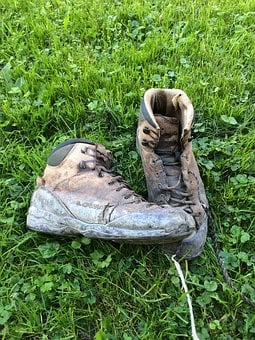 Hiking, Hiking Shoes, Worn, Outdoor, Shoelaces