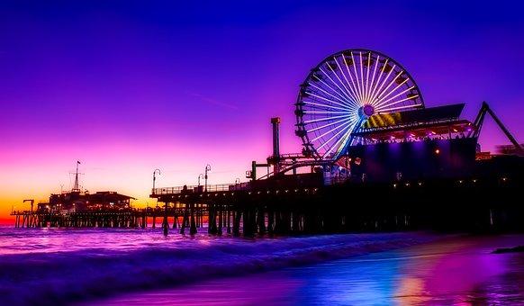 Santa Monica, Pier, Amusement, Ferris Wheel, Lights