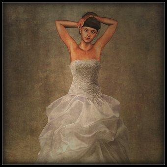 Woman, Bride, Dress, Photo Manipulation, Beauty