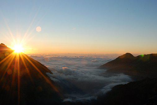 Dawn, Mountains, Sea Of Clouds, Landscape, Alps, Clouds