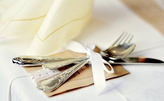 Cutlery, Cover, Metal, Gloss, Napkin, Cutlery Set
