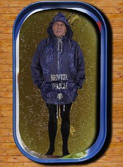 Man, Rain Jacket, Tin Of Sardines, Oily