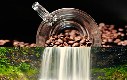 Coffee, Summer, Waterfall, River, Two In One, Silence