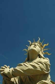 Sky, Sun, Blue, Statue, Sculpture, Pray, Praying