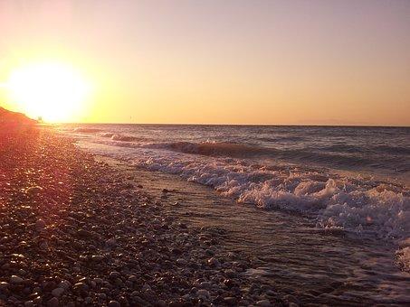 Sunset, Sun, Sea, Pebbles, Horizon, Wave, Summer