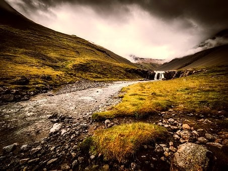 Iceland, Landscape, Mountains, Stream, Waterfall
