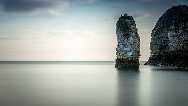 Chalk Stack, Seascape, Cliffs, Long Exposure, Chalk