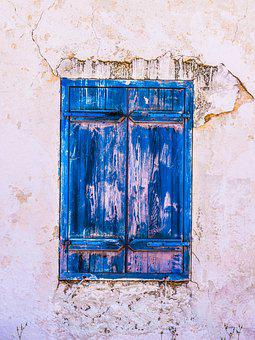 Window, Old, Wooden, Blue, Aged, Weathered, Decay