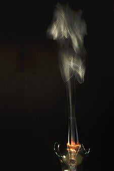 Light Bulb, Burn, Fire, Glass Bulb, Disappearing, Close