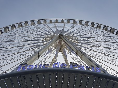 Ferris Wheel, Paris, Fun, Blue Sky