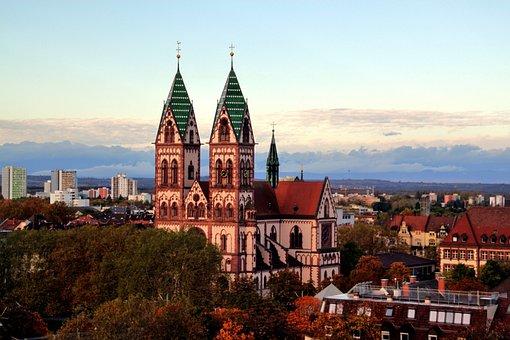 Church, Freiburg Im Breisgau, Steeple, Sky, Tower