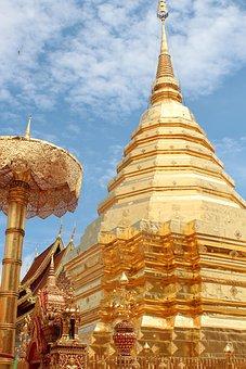 Temple, Gold, Golden, Buddhism, Buddha, Thailand, Asia