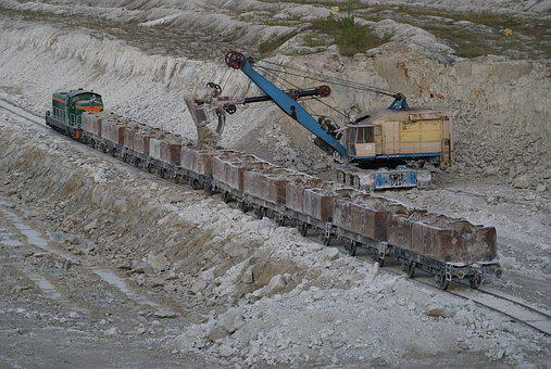 Mine Chalk, Excavator, Train, Loading, Chalk, Lubelskie