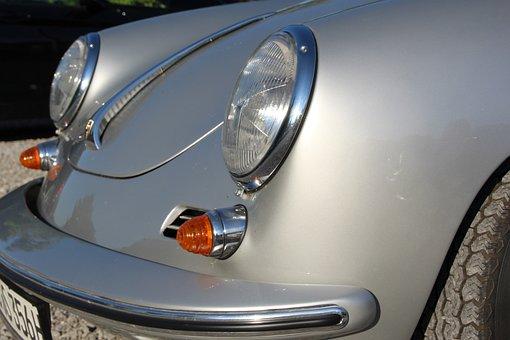 Porsche, Silver, Front Headlight