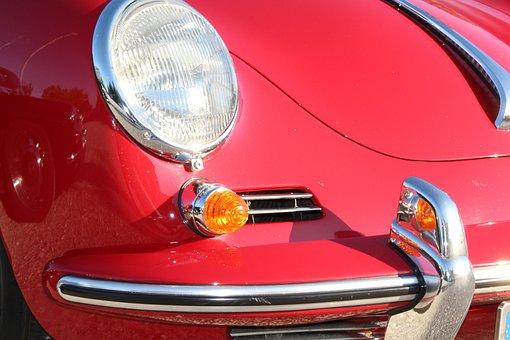 Porsche, Red, Front Headlight