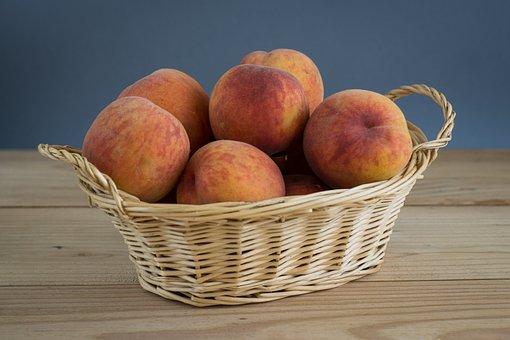 Peach, Peaches In The Basket, Shopping Cart, Fruit
