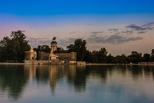 Sunset, Retiro Park, Madrid, Water, Pond, Lake