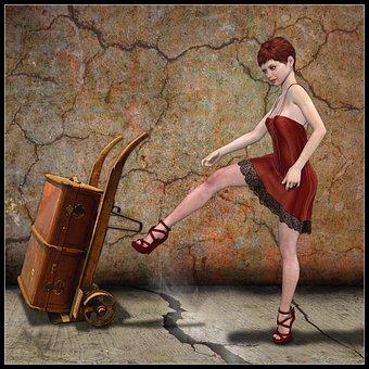 Woman, Transport Cart, Red Dress, 3d Model, Rendering