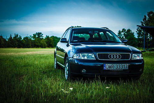 Audi, A4, Meadow, Car, Sky, Grass, Transport, Cars
