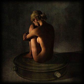Woman, Sitting, Erotic, Photo Manipulation, Beauty