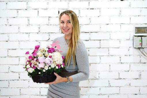 Girl, Flowers, Bouquet, Youth, Woman, Summer, Girls