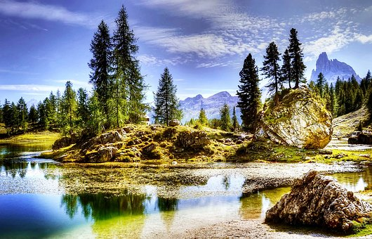 Dolomites, Lago Federa, Nature, Lake, Alpine, Mountains