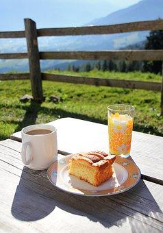 Breakfast, Mountains, Alpine, Austria, Coffee, Cake