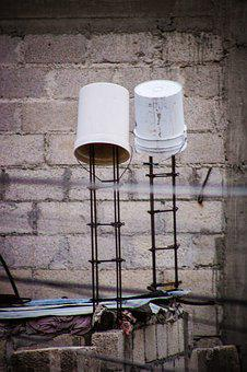 Bucket, Roof, Architecture, Construction, Water, Repair