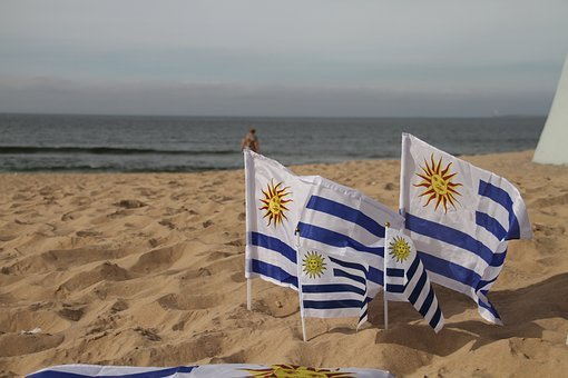 Uruguay, Flag, Country, Uruguayan, Beach, Coast