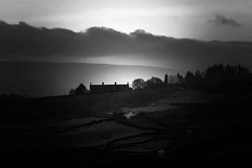 Yorkshire Dales, Black And White, Road, Car, Lights
