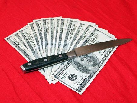 Knife, Money, Dollars, Cash Money, Crime