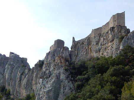 Castle, Fortress, Refuge, Peyrepertuse, Aude, Wall