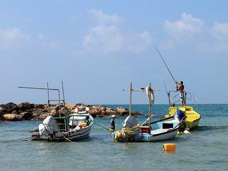 Sea, Boats, Fishermen, Israel, The Mediterranean Sea