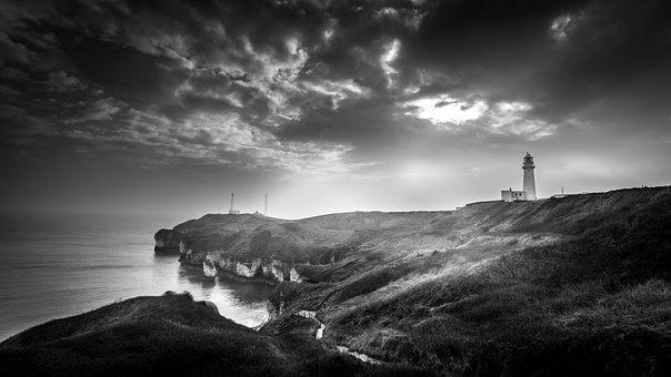 Moody, Seascape, Lighthouse, Flamborough Head