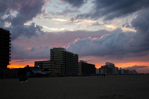 Beach, Hotel, Clouds, Sky, Sunset
