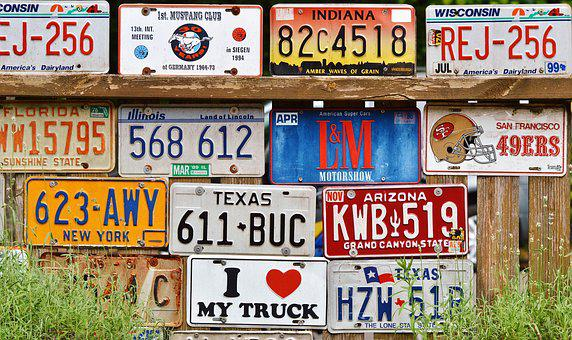License Plate, Car Shield, American Number Plates