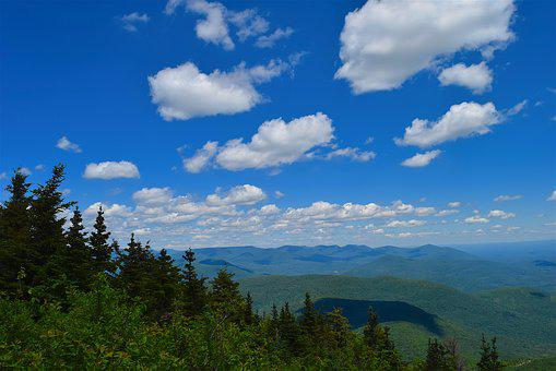 Mountainside, Clouds, View, Trees, Pine, Landscape