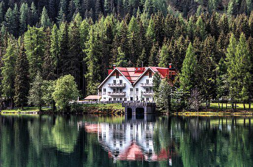 Lake, Chalet, Mirroring, Forest, Bergsee, Summer, Water